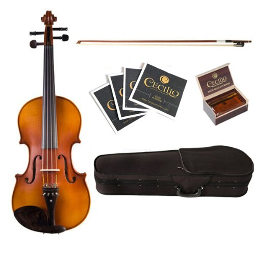 Bridge and Strings Case Rosin Size 12-Inch Cecilio CVA-500 Ebony Fitted Flamed Solid Wood Viola with Tuner Bow