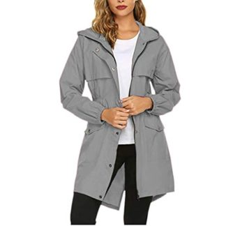 〓COOlCCI〓Women Casual Hooded Drawstring Military Medium Long Length Jacket with Pocket Soft Lined Parka Coat Outerwear