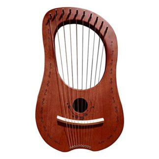 Muslady Walter.t 7-String Wooden Lyre Harp Metal Strings Birch Solid Wood String Instrument with Carry Bag